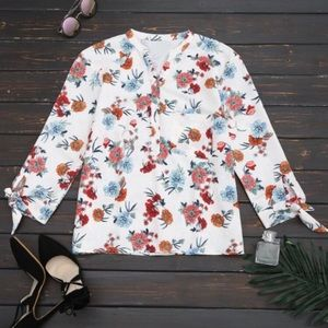 Zara Basic floral tie sleeve button down top MED